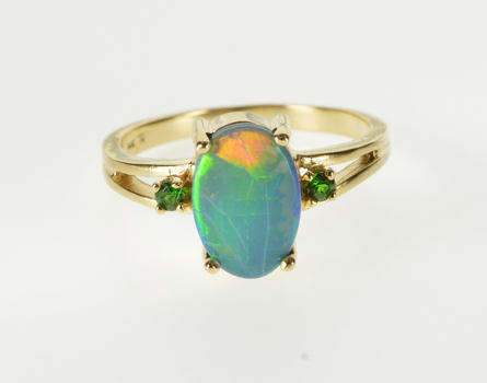 14K Oval Opal Doublet Tsavorite Accent Three Stone Yellow Gold Ring, Size 7
