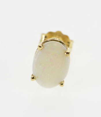 14K Oval Opal* Inset Solitaire Single Stud Yellow Gold EarRing