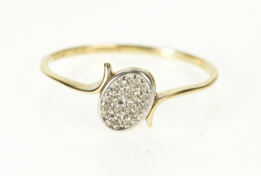 14K Oval Pave Diamond Cluster Bypass Stackable Yellow Gold Ring, Size 7.75