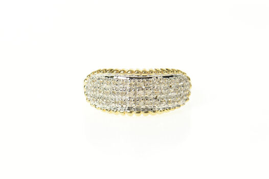 14K Oval Pave Diamond Cluster Statement Band Yellow Gold Ring, Size 10.5