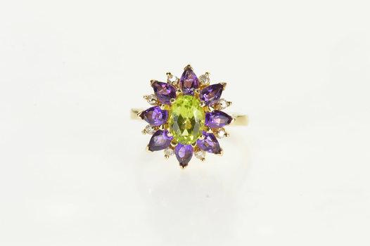 14K Oval Peridot Amethyst Diamond Halo Cocktail Yellow Gold Ring, Size 7