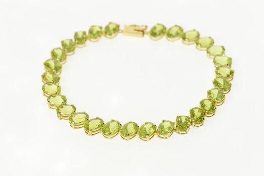 "14K Oval Peridot Classic Statement Tennis Yellow Gold Bracelet 7.5"""