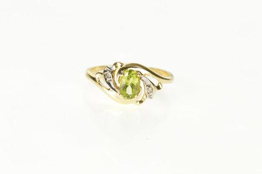 14K Oval Peridot Diamond Accent Swirl Bypass Yellow Gold Ring, Size 6