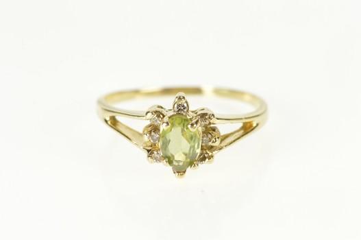 14K Oval Peridot Diamond Halo Statement Yellow Gold Ring, Size 7.25