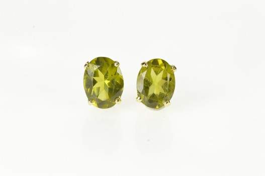 14K Oval Peridot Solitaire August Birthstone Stud Yellow Gold Earrings