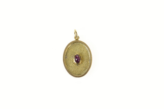 14K Oval Ruby Chinese Happiness Symbol Yellow Gold Pendant