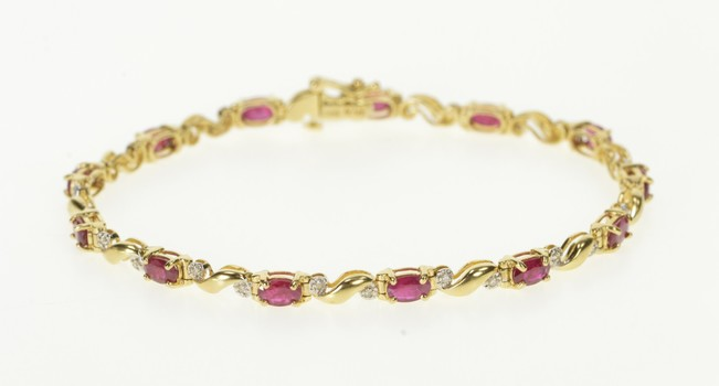 "14K Oval Ruby Diamond Accent Wavy Tennis Yellow Gold Bracelet 7.25"""