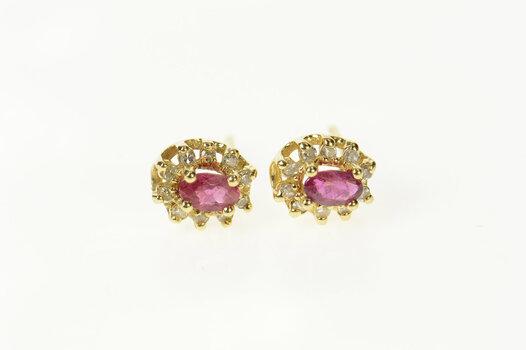 14K Oval Ruby Diamond Halo Classic Stud Yellow Gold Earrings