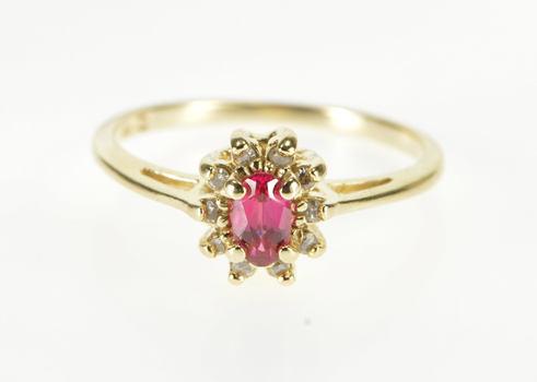 14K Oval Ruby* Inset Diamond Halo Statement Yellow Gold Ring, Size 5.75