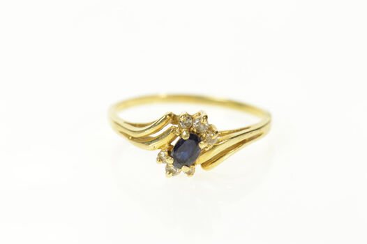14K Oval Sapphire Diamond Accent Bypass Yellow Gold Ring, Size 8