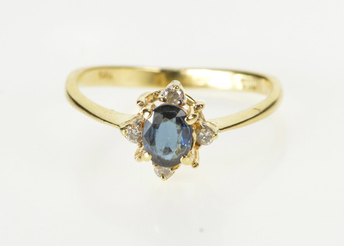 14K Oval Sapphire Diamond Accent Engagement Yellow Gold Ring, Size 4