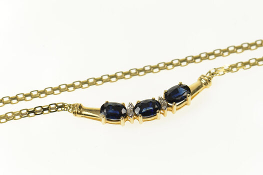 """14K Oval Sapphire Diamond Accent Flat Chain Yellow Gold Necklace 15.5"""""""