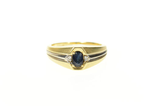 14K Oval Sapphire Diamond Accent Men's Yellow Gold Ring, Size 9.25