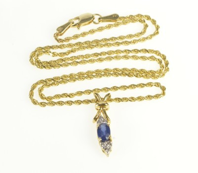 14K Oval Sapphire Diamond Accent Rope Chain Yellow Gold Necklace 16""