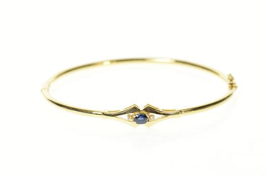 "14K Oval Sapphire Diamond Accent Round Bangle Yellow Gold Bracelet 6.75"""