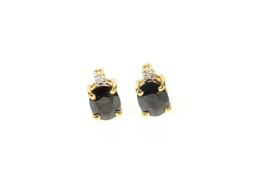 14K Oval Sapphire Diamond Accent Stud Yellow Gold Earrings