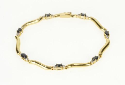 "14K Oval Sapphire Diamond Accent Wavy Link Yellow Gold Bracelet 7.25"""