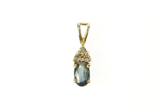 14K Oval Sapphire Diamond Cluster Accent Yellow Gold Pendant