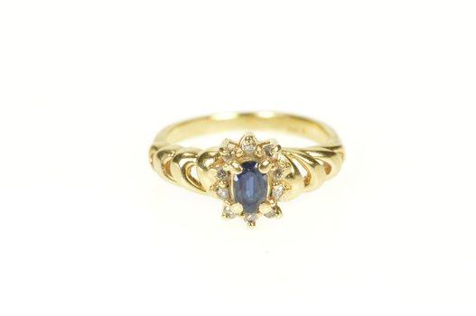 14K Oval Sapphire Diamond Halo Engagement Swirl Yellow Gold Ring, Size 3.25