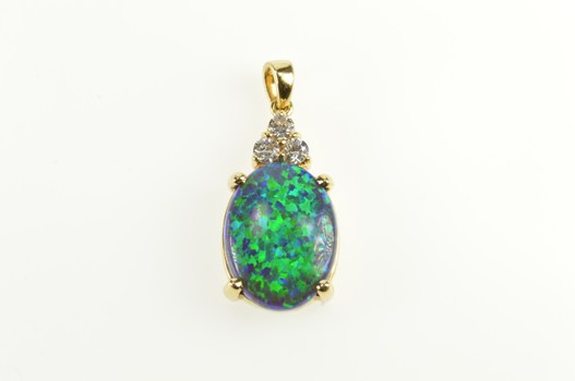 14K Oval Sim. Black Opal CZ Cluster Statement Yellow Gold Pendant