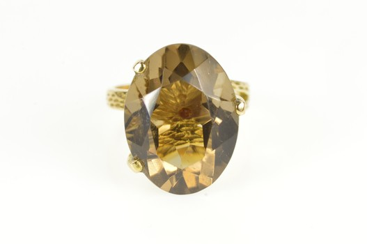14K Oval Smoky Quartz Retro Statement Cocktail Yellow Gold Ring, Size 7.25
