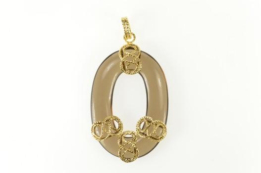 14K Oval Smoky Quartz Wire Wrapped Statement Yellow Gold Pendant
