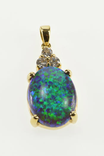14K Oval Syn. Black Opal Cubic Zirconia Cluster Yellow Gold Pendant