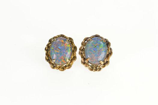 14K Oval Syn. Black Opal Diamond Twist Trim Stud Yellow Gold Earrings