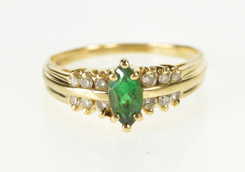 14K Oval Syn. Emerald Diamond Accent Fashion Yellow Gold Ring, Size 8