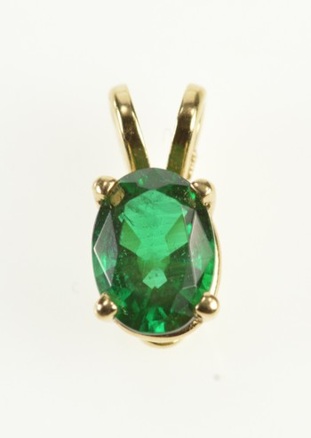 14K Oval Syn. Emerald Solitaire May Birthstone Yellow Gold Pendant