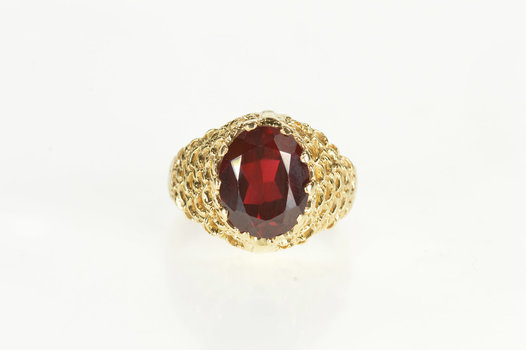 14K Oval Syn. Garnet Graduated Ornate Statement Yellow Gold Ring, Size 5.75