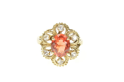 14K Oval Syn. Mexican Fire Opal CZ Halo Cocktail Yellow Gold Ring, Size 7.5