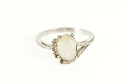 14K Oval Syn. Opal Diamond Accent Bypass White Gold Ring, Size 6.75