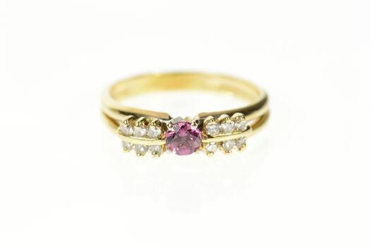 14K Oval Syn. Pink Sapphire Diamond Bridal Set Yellow Gold Ring, Size 7.5