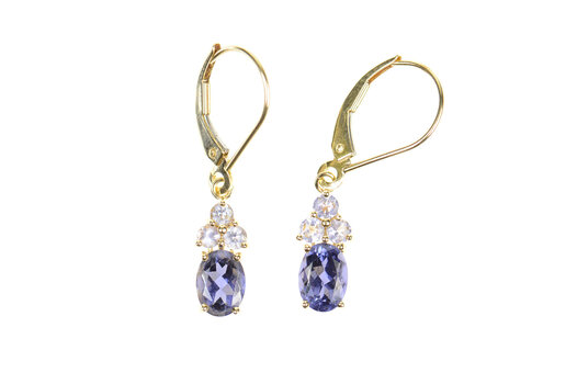 14K Oval Tanzanite Cluster Accent Dangle Yellow Gold Earrings