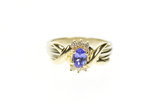 14K Oval Tanzanite Diamond Accent Engagement Yellow Gold Ring, Size 7.25
