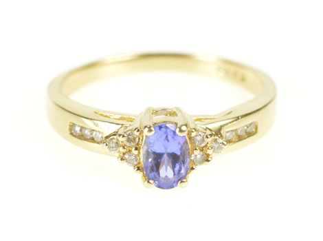 14K Oval Tanzanite Diamond Accent Engagement Yellow Gold Ring, Size 8.5