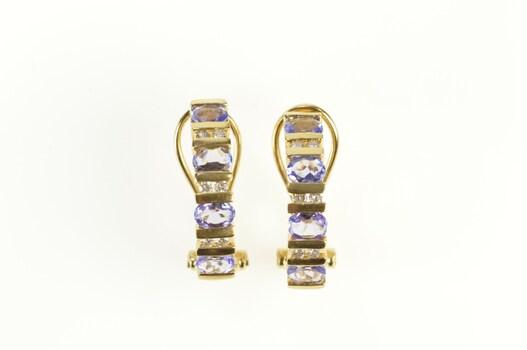14K Oval Tanzanite Diamond Inset Semi Hoop Yellow Gold Earrings