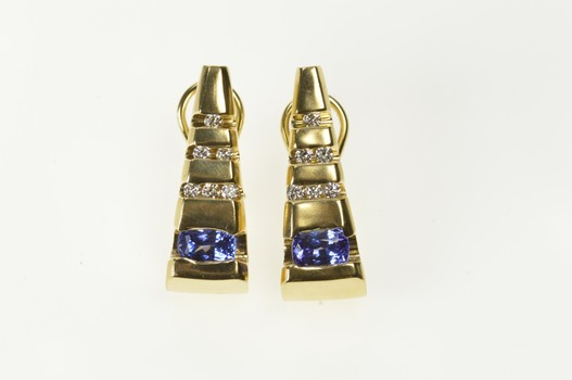 14K Oval Tanzanite Diamond Triangle French Clip Back Yellow Gold Earrings