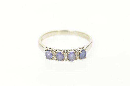 14K Oval Tanzanite Diamond Wedding Band White Gold Ring, Size 9