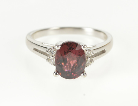 14K Oval Tourmaline Diamond Accent Engagement White Gold Ring, Size 7.25