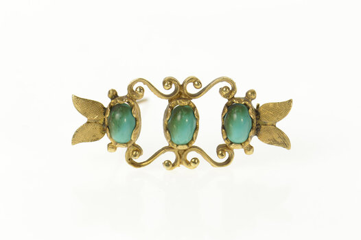 14K Oval Turquoise Retro Leaf Scroll Bar Yellow Gold Pin/Brooch