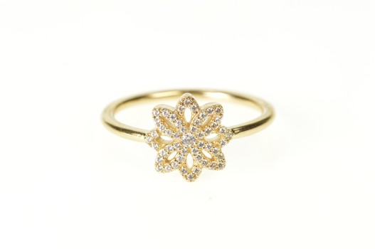 14K Pandora Lace Botanique Flower Statement Yellow Gold Ring, Size 7