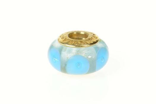 14K Pandora Light Blue Mystic Murano Glass Bead Yellow Gold Charm/Pendant