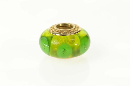 14K Pandora Murano Green Glass Designer Yellow Gold Charm/Pendant