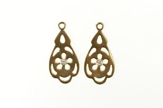 14K Pandora Pendant Diamond Stud Enhancer Yellow Gold Earring Jackets