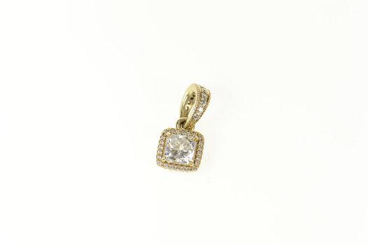 14K Pandora Timeless Elegance Cushion CZ Yellow Gold Pendant