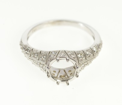 14K Pave Art Deco Diamond Engagement Setting White Gold Ring, Size 6.25