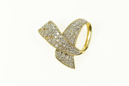 14K Pave Diamond Breast Cancer Ribbon Yellow Gold Pendant