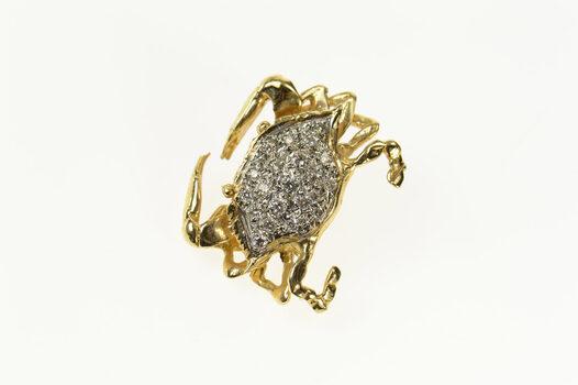 14K Pave Diamond Crab Cancer Zodiac Symbol Yellow Gold Pendant